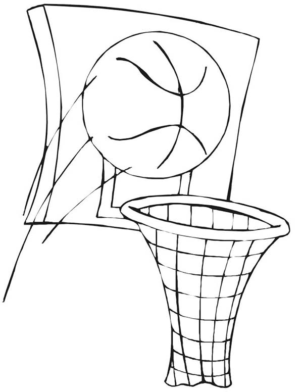 600x776 Basketball And Basket In Nba Coloring Page Color Luna