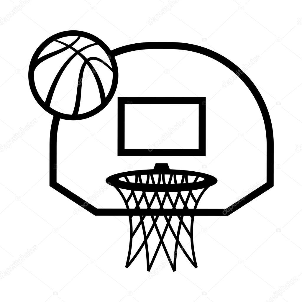 1024x1024 Basketball Hoop Vector Icon Illustration Stock Vector
