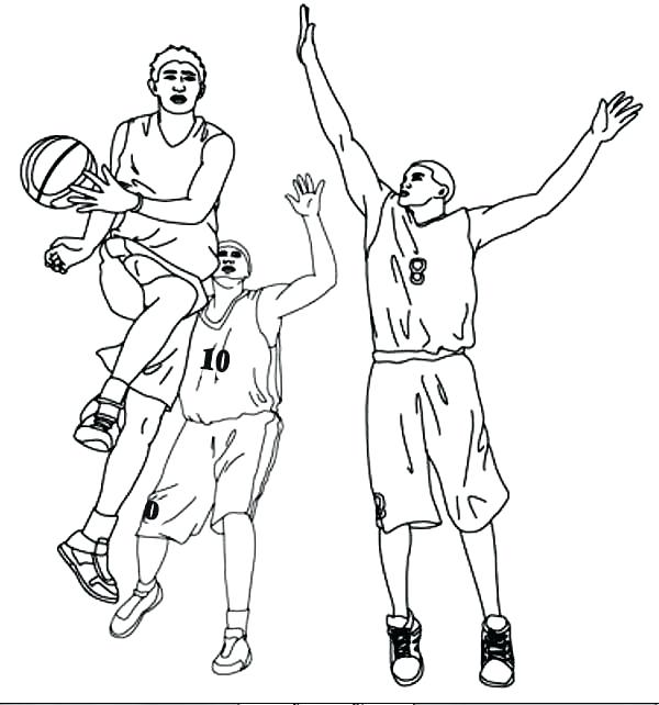 600x642 Basketball Coloring Sheets 53 Also Basketball Player Assist