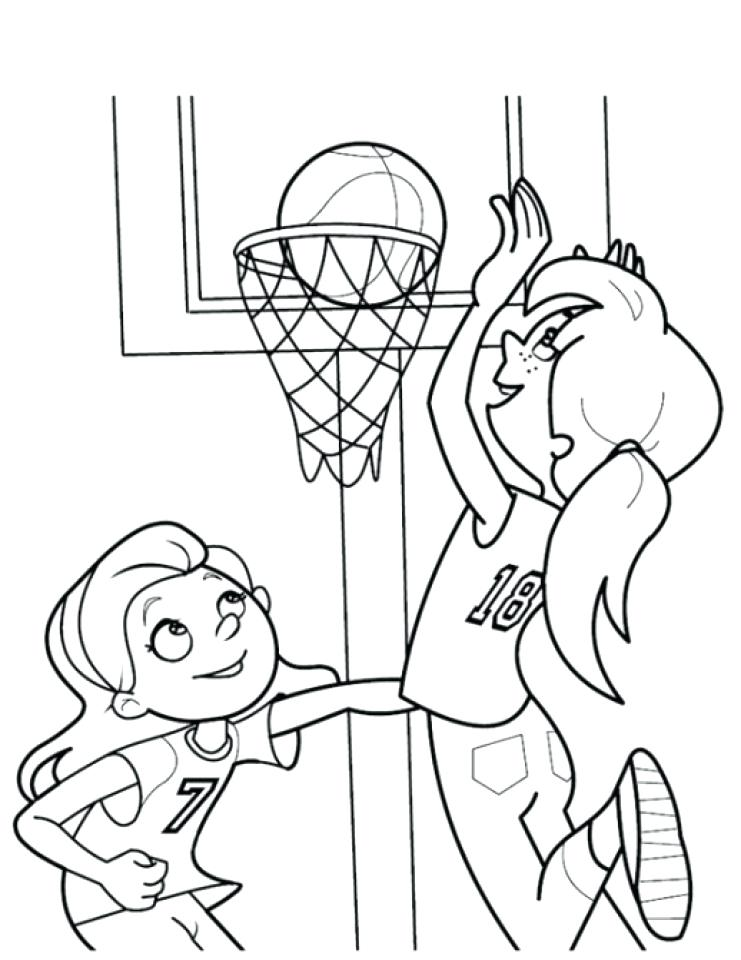 741x960 Basketball Coloring Page