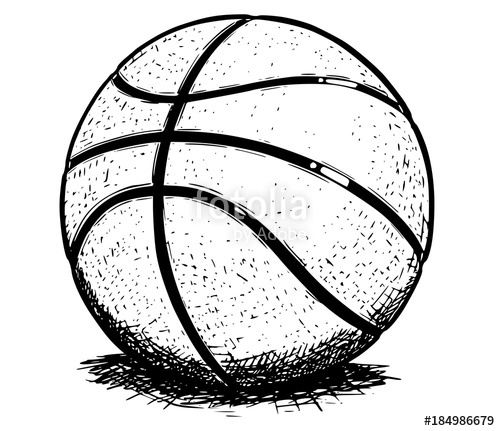 500x431 Basketball Ball Vector Hand Drawing Illustration Stock Image