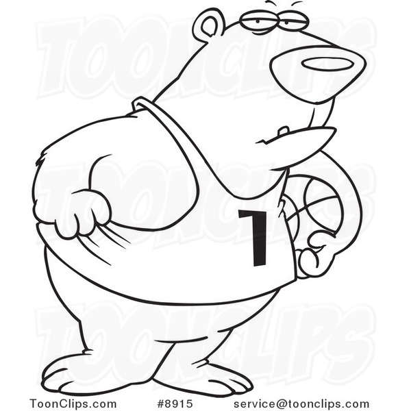 581x600 Cartoon Black And White Line Drawing Of A Basketball Bear