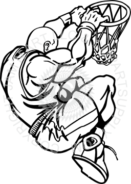 256x361 Player Slam Dunk Black And White