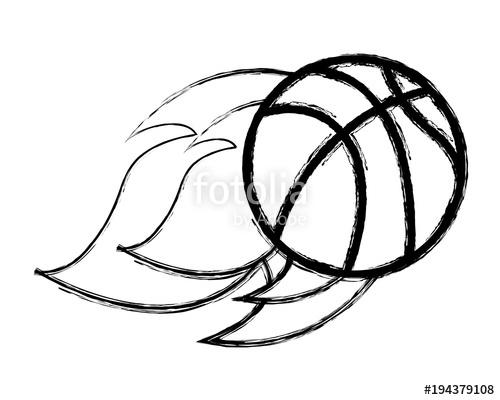 500x400 Flying Ball Basketball On Fire Sport Vector Illustration Sketch