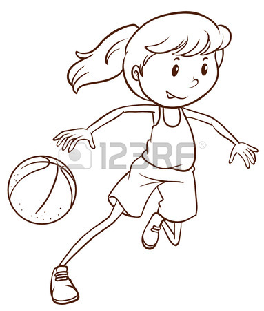 383x450 Illustration Of A Simple Sketch Of A Female Basketball Player