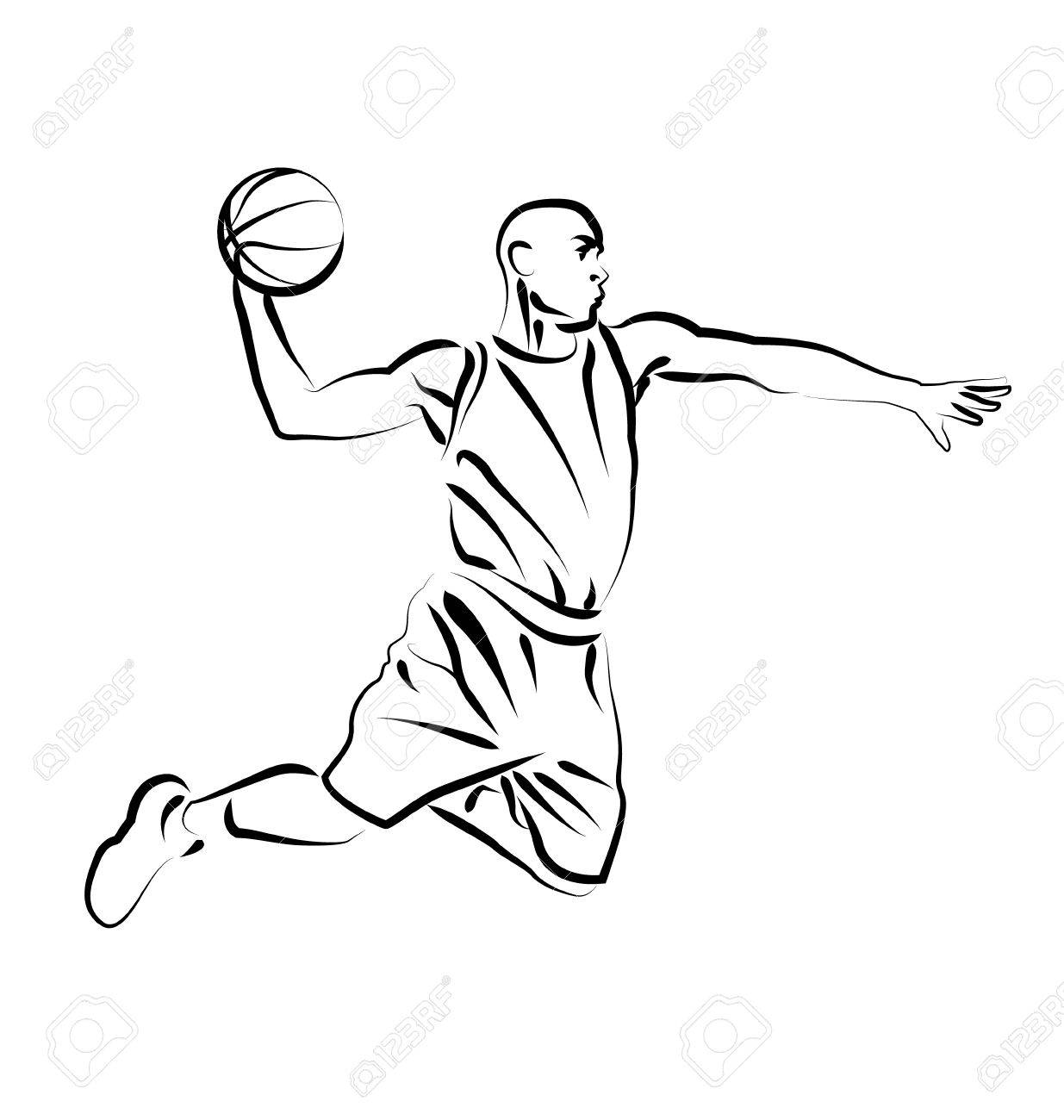 1235x1300 Vector Line Sketch Basketball Player Royalty Free Cliparts