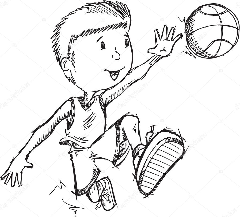 1023x925 Basketball Player Sketch Stock Vector Misterelements