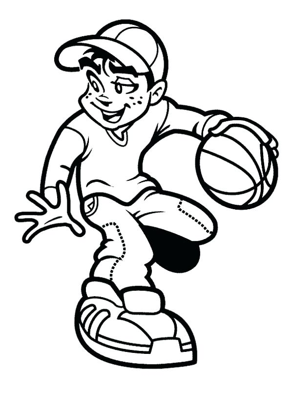 kid playing basketball coloring pages - photo#7