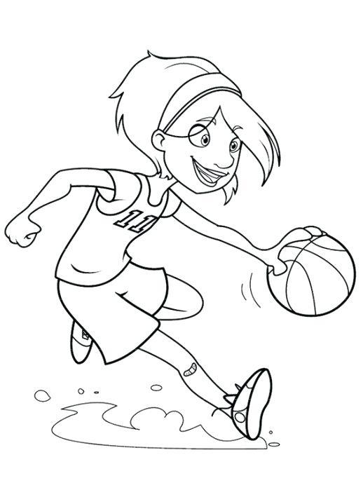 518x699 Basketball Players Coloring Pages Girl Playing Basketball Coloring