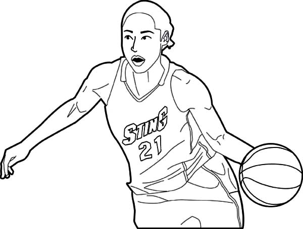 600x455 Nba Player Dribbling Coloring Page Color Luna