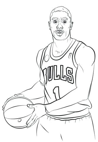 333x480 Nba Players Coloring Pages Derrick Rose Coloring Pages Playing