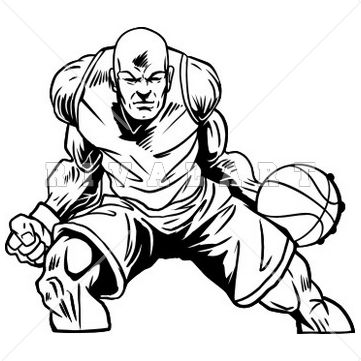 361x361 Sports Clipart Image Of A Strong Basketball Player With Muscles