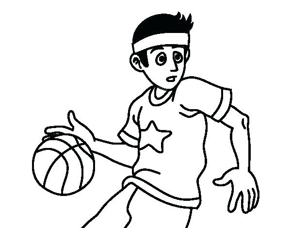 600x470 Basketball Court Coloring Page Player P On Basketball Player