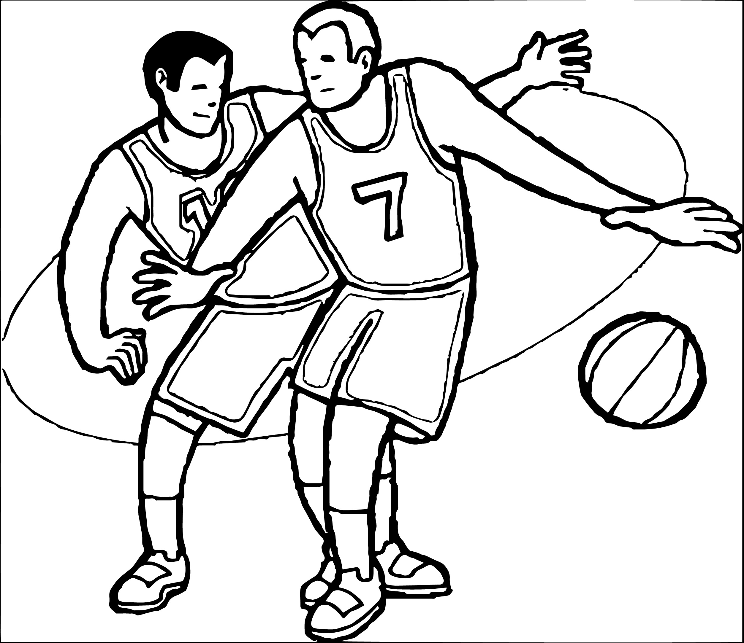 2506x2168 Basketball Player Clipart Black And White