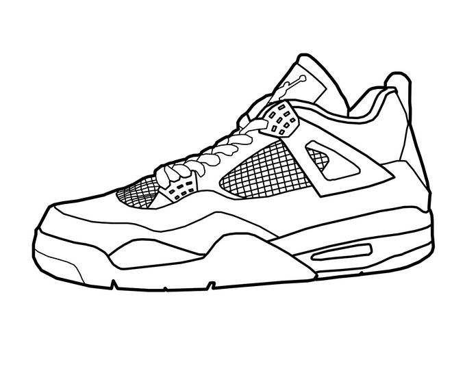 Good 660x545 Printable Basketball Shoes Coloring Page