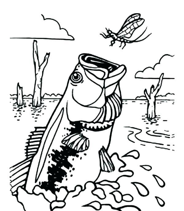 600x687 Fishing Coloring Pages Shark Near Fishing Boat Fish Coloring