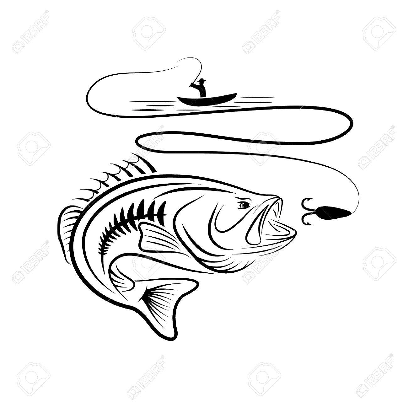 1300x1300 Illustration Of Fisherman In A Boat And Big Mouth Bass Royalty