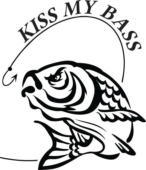 570x661 Kiss My Bass Fishing Boat Trailer Tackle Box Gear Vinyl