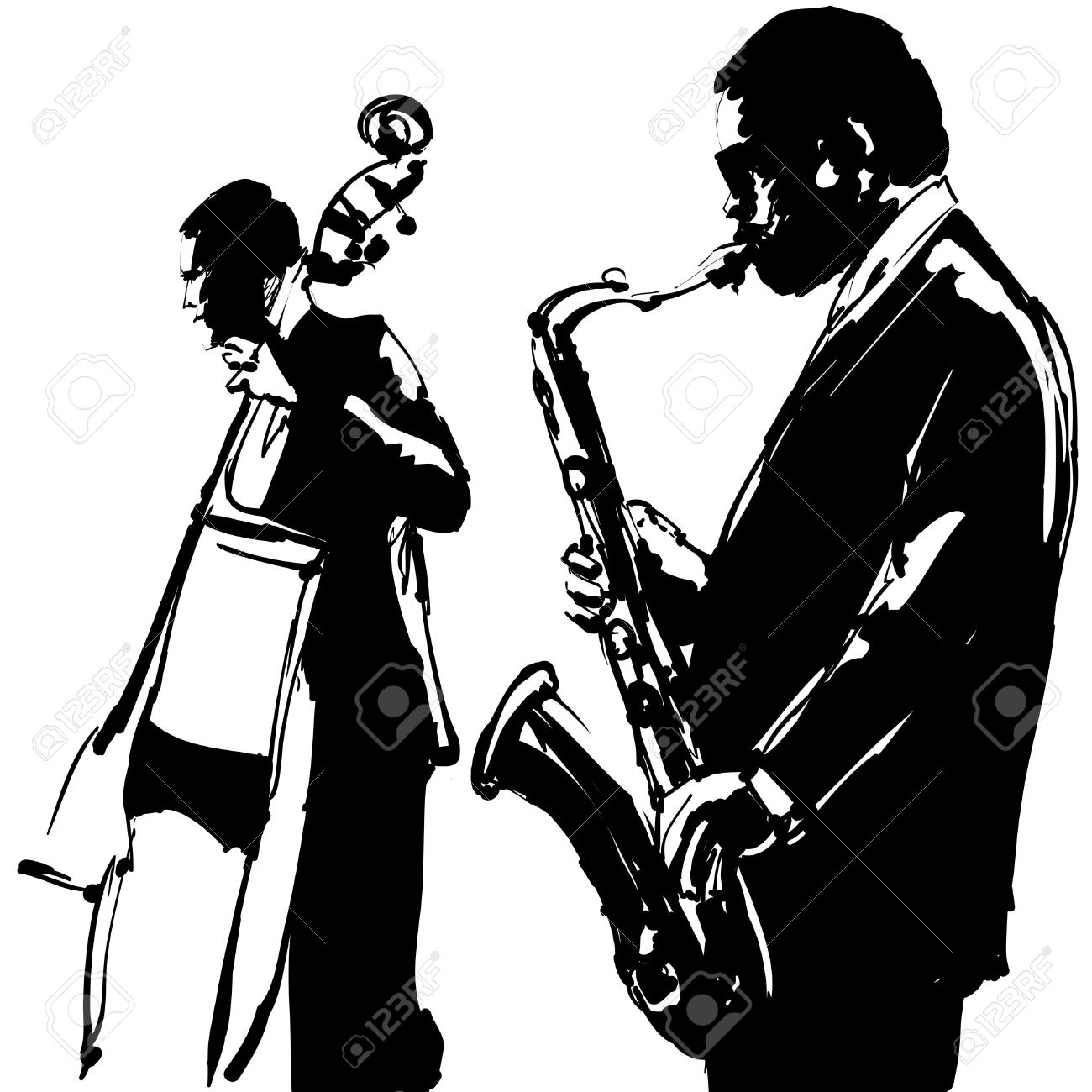 1300x1300 Jazz With Saxophone And Double Bass