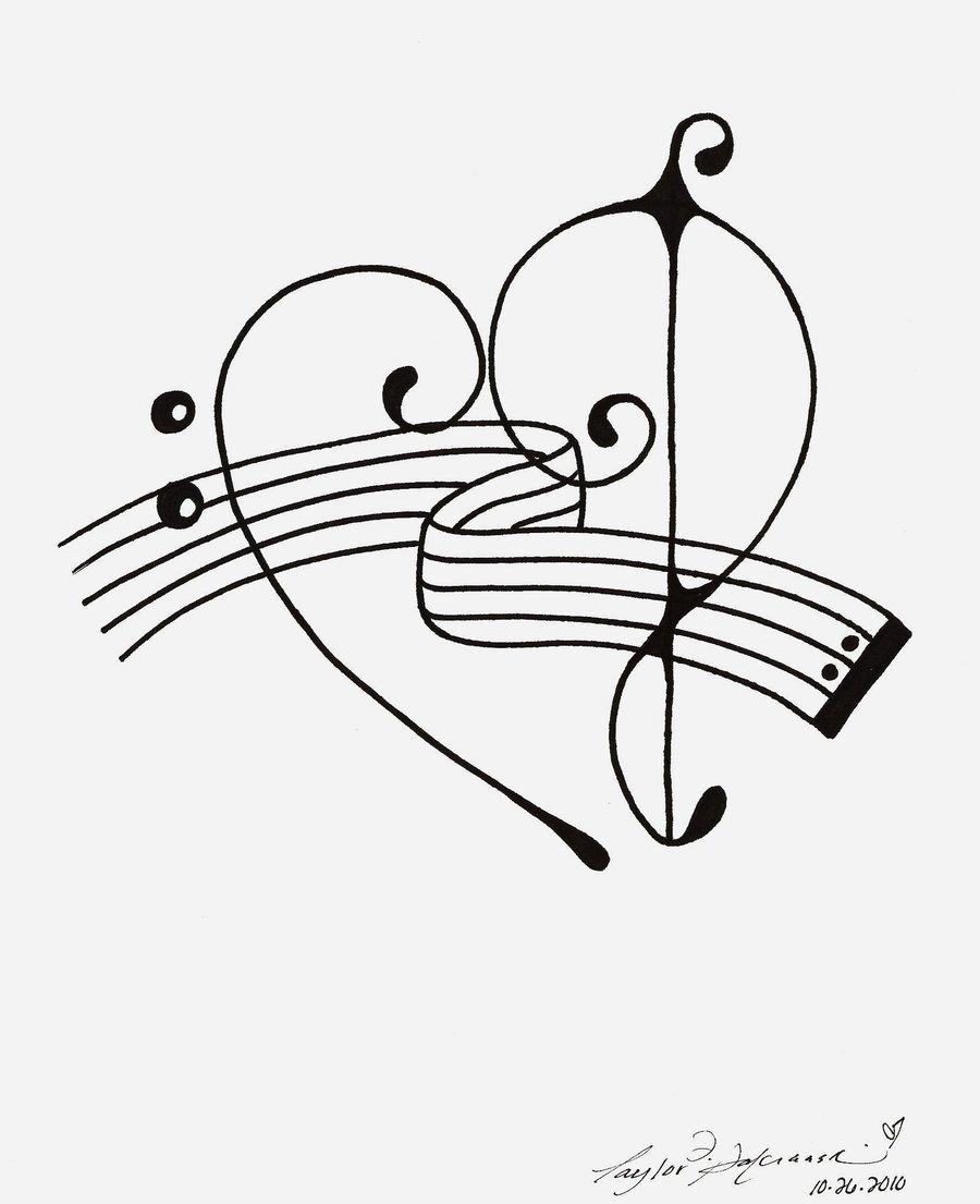 900x1105 Bass Treble Clef Heart Tattoo By ~minoritsuki