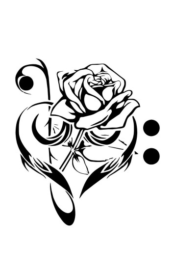 355x562 Bass And Treble Clef Heart With Rose Tattoo Tattoo Flash