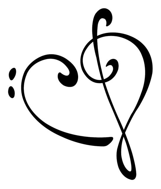 546x640 Musical Heart Vectorized Treble Clef Heart, Treble Clef And Clef
