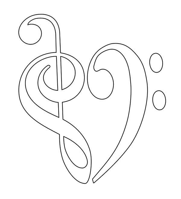 600x658 Treble Clef And Bass Forming Heart Coloring Page