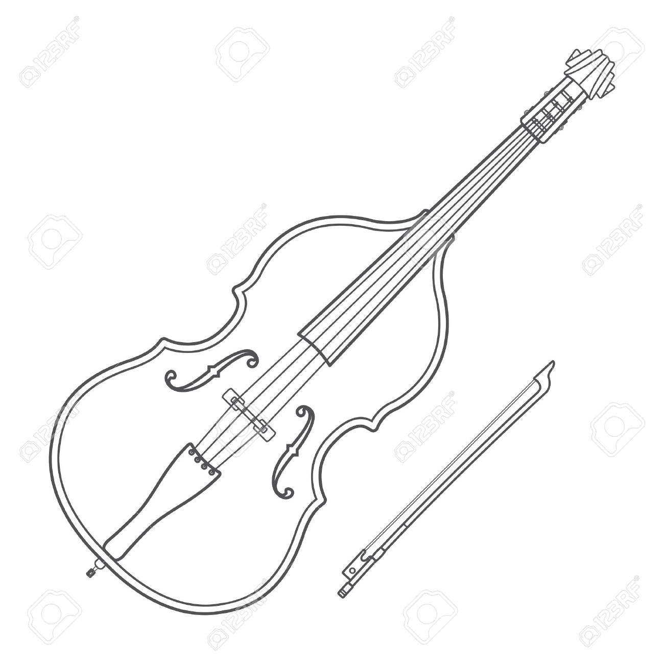 1300x1300 Dark Monochrome Outline Double Bass Bow Illustration White