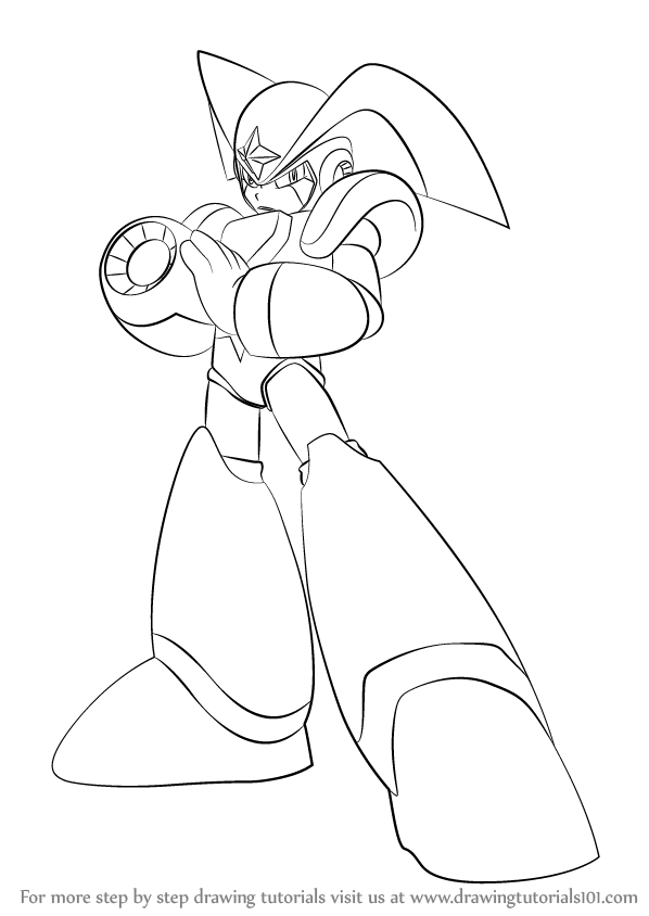 598x844 Learn How To Draw Bass From Mega Man (Mega Man) Step By Step
