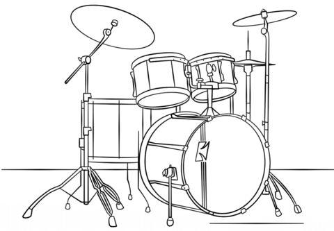 480x333 Drum Set Ink Drawing