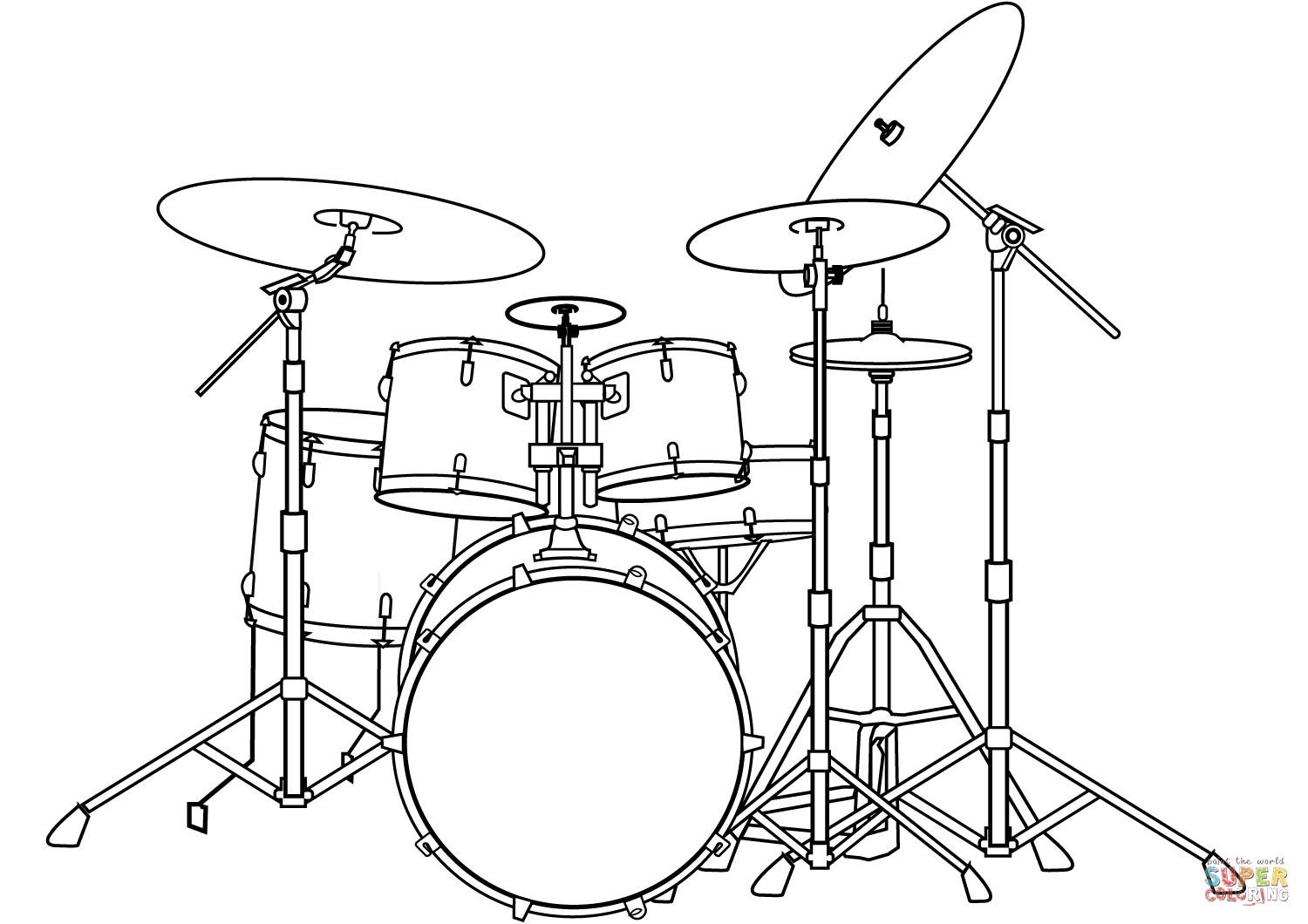 1500x1060 Drum Set Coloring Page Free Printable Pages