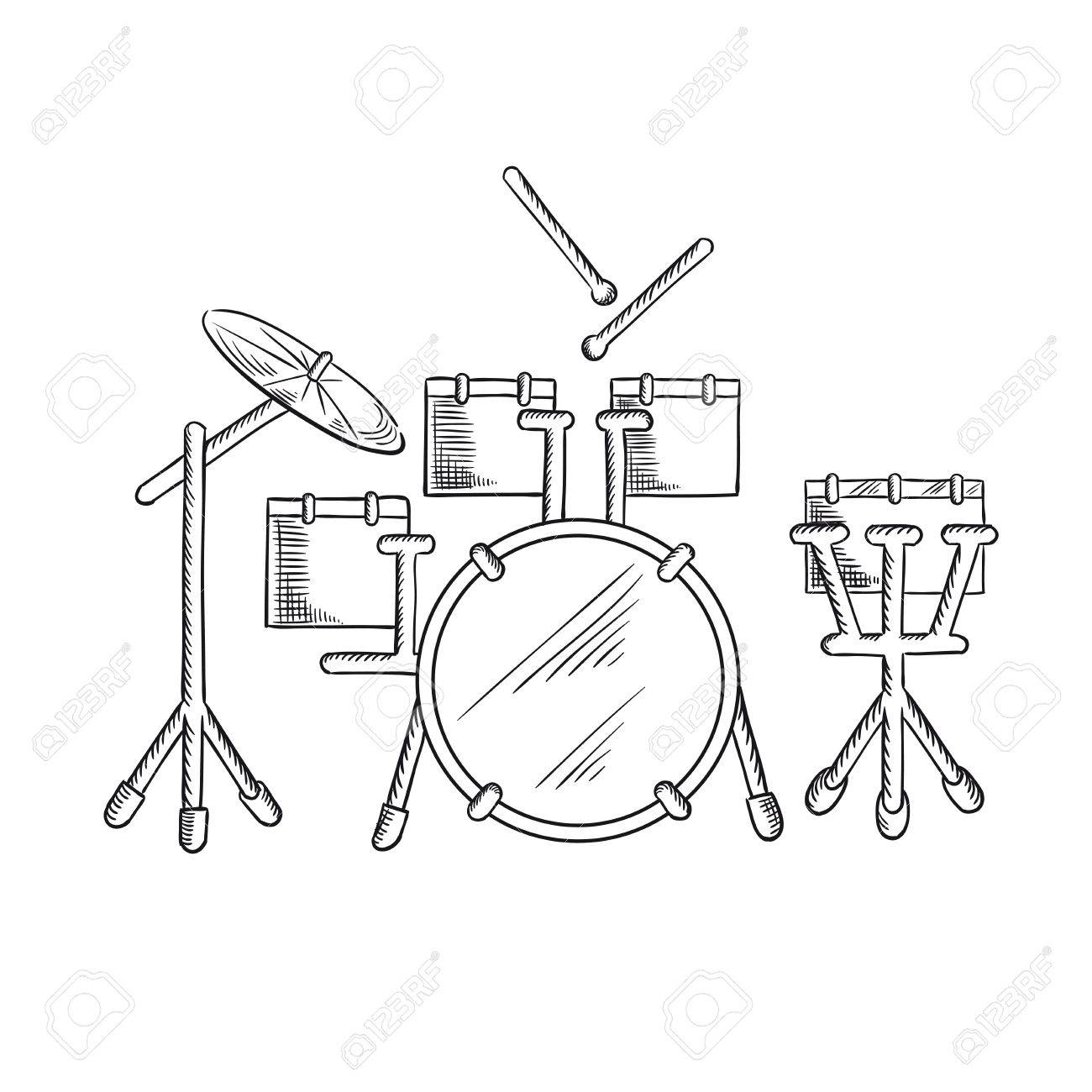 1300x1300 Drum Set Sketch With Traditional Kit Of Bass Drum, Two Hanging