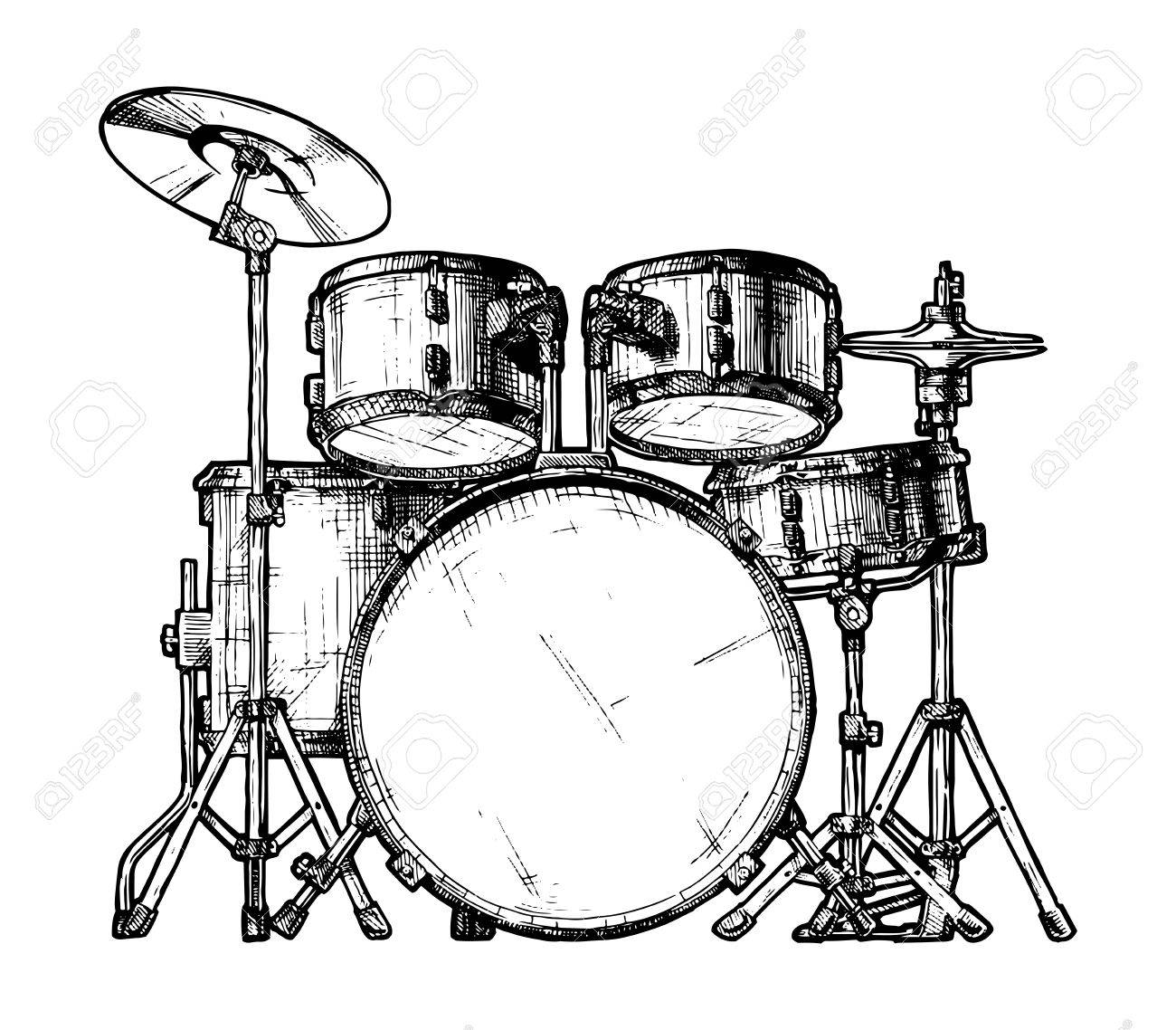 1300x1138 Hand Drawn Illustration Of Drum Kit. Isolated On White Royalty