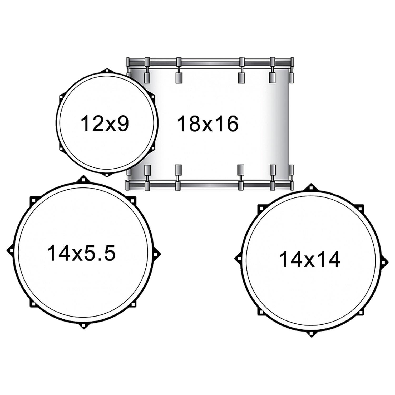 1500x1500 Sawtooth Command Series 4 Piece Drum Set With 18 Bass Drum