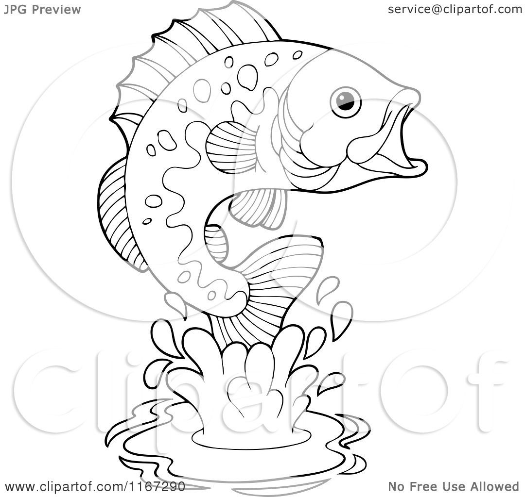 1080x1024 Cartoon Of An Outlined Leaping Bass Fish