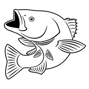 300x300 Fish With Mouth Open Drawing