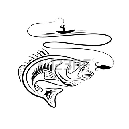 Bass Fishing Drawing