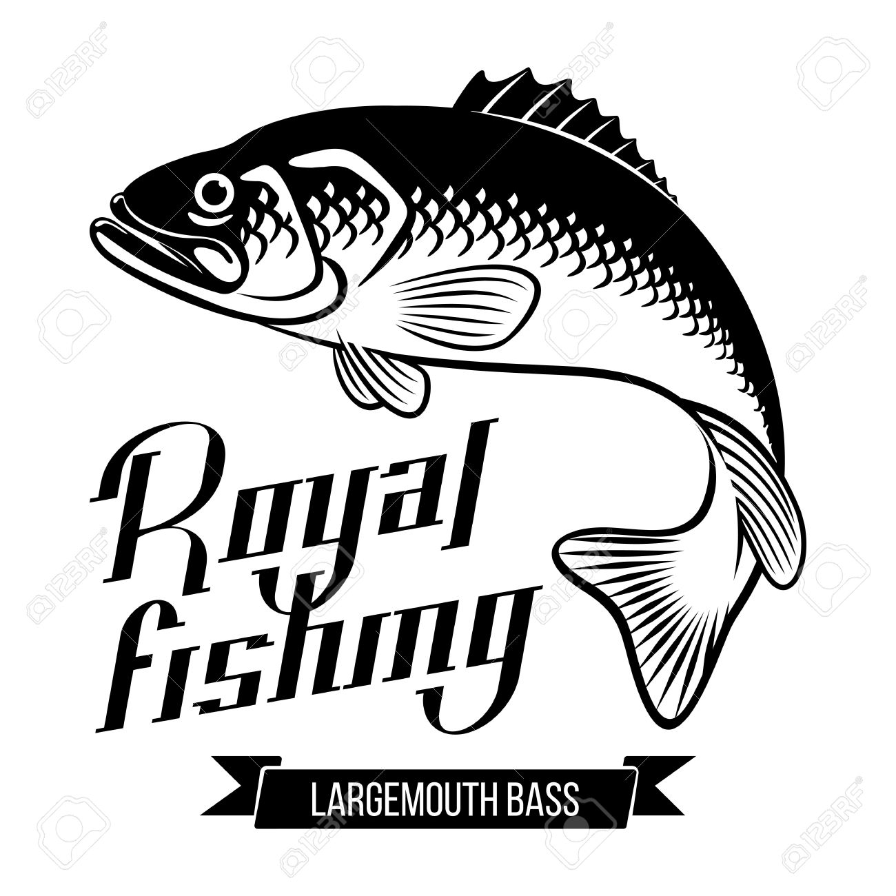 1300x1300 Largemouth Bass. Fish Vector Illustration. Royal Fishing