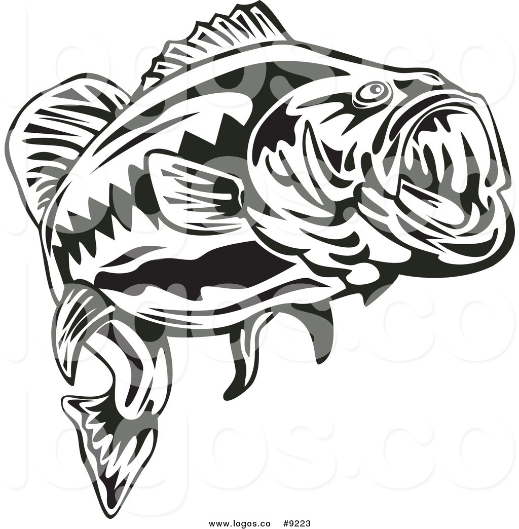 1024x1044 Royalty Free Clip Art Vector Logo Of A Black And White Largemouth