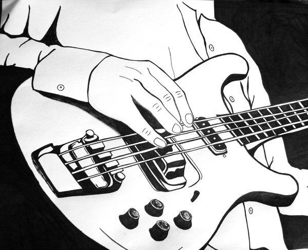 Line drawing guitar : Bass guitar drawing at getdrawings.com free for personal use