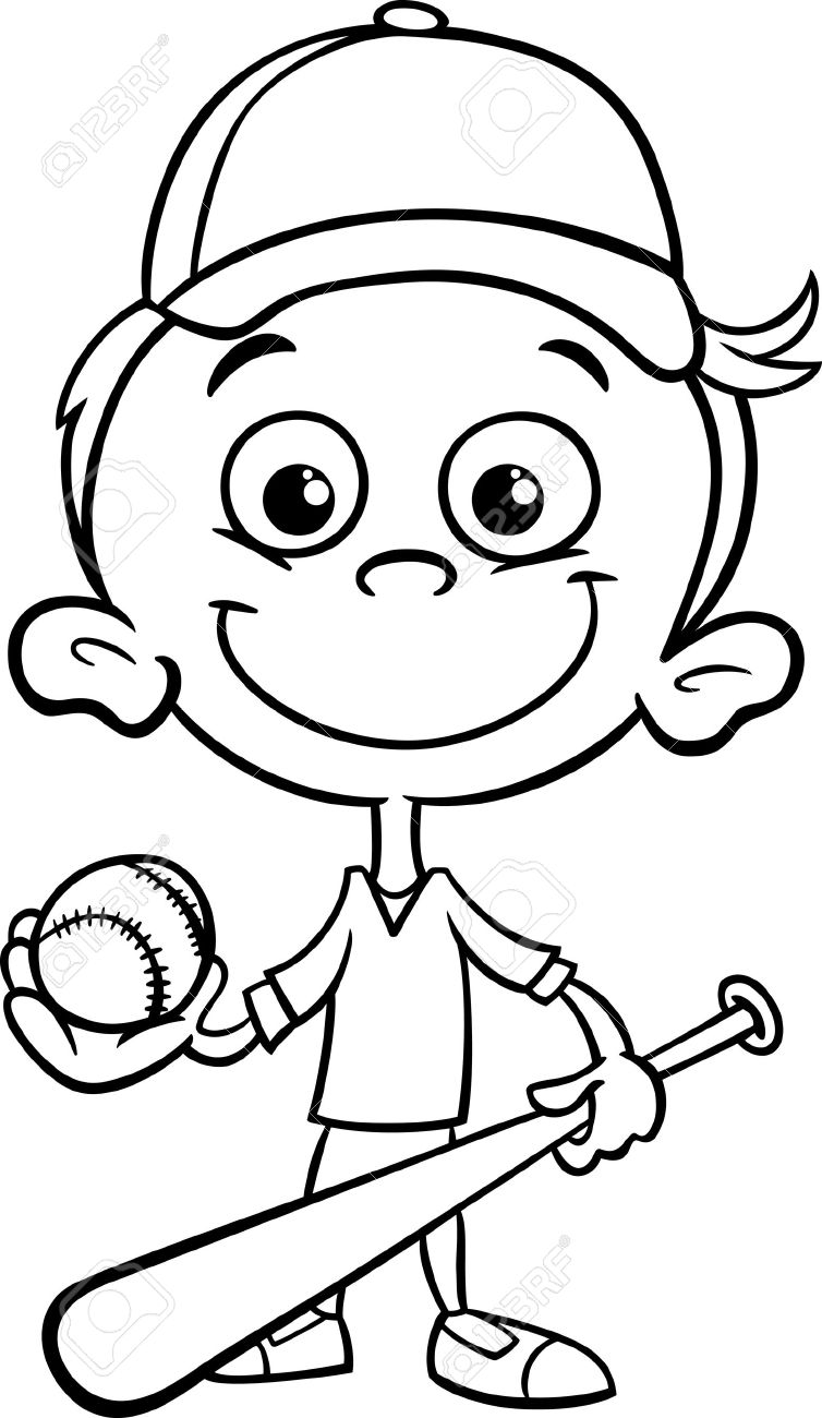 754x1300 Black And White Cartoon Illustration Of Funny Boy Baseball Player