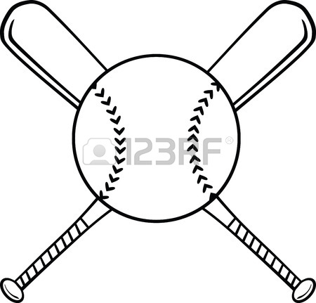 450x431 Black And White Crossed Baseball Bats And Ball Illustration