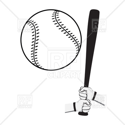 400x400 Hands With Baseball Bat And Big Ball On White Background Royalty