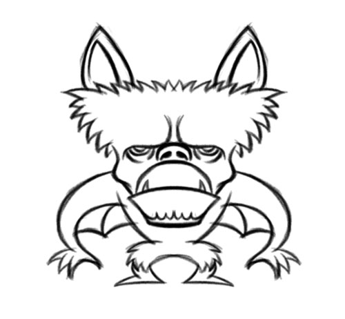 500x462 Monkey Bat Cartoon Character Creature Illustration For Group