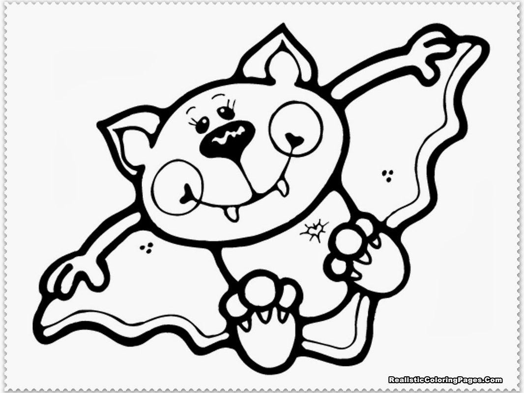 1066x800 Cartoon Vampire Bat Coloring Page Free Printable Of A For Kids