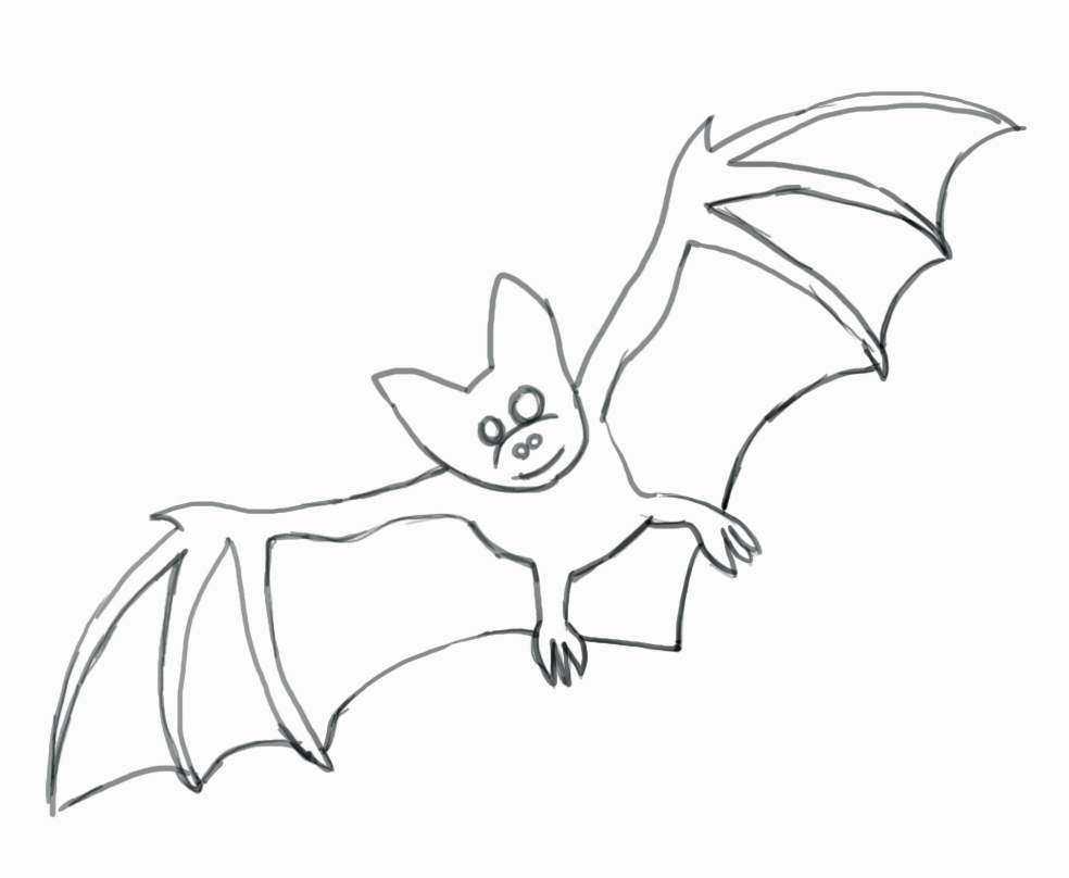984x808 Bat Drawing For Kids How To Draw A Bat For Halloween Real Easy