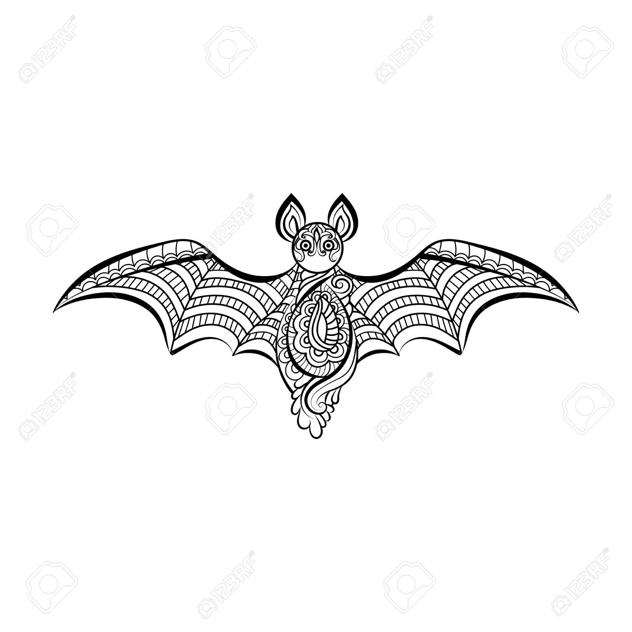 1300x1300 Decorative Bat. Hand Drawn Sketch For Adult Anti Stress Coloring