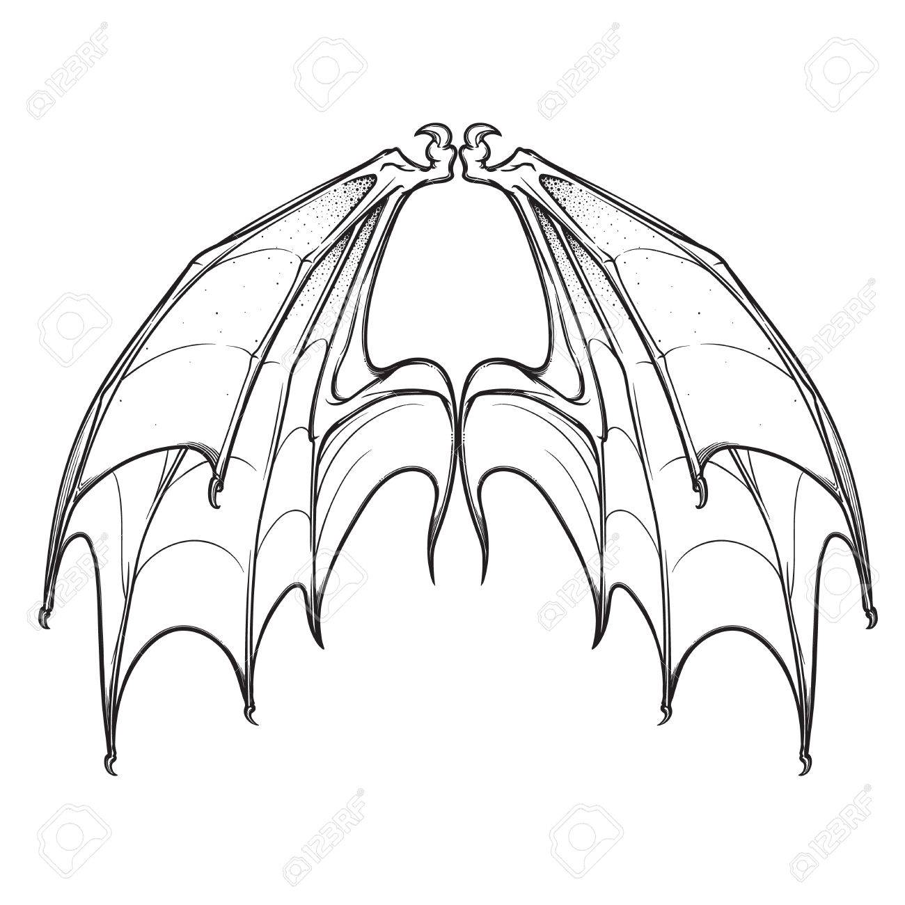 1300x1300 Bat Membranout Wings Sketch. Halloween Concept Art. Isolated