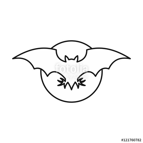 500x500 Bat Icon In Outline Style Isolated On White Background. Fly Symbol