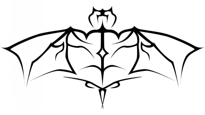 800x450 Outline Tattoo Of Wide Bat